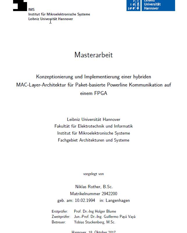 Titelseite Masterarbeit